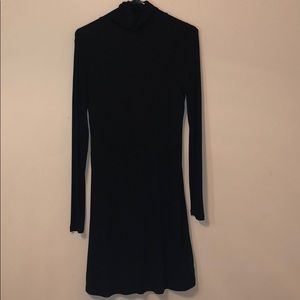 Black turtleneck sweater midi dress